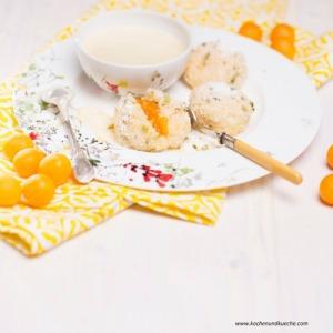 Kriecherlknödel mit Pistazienbröseln und Vanillesauce
