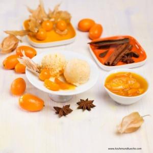 Physalis-Marillen-Eis mit Gewürz-Kumquats