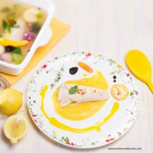 Pochierter Butterfisch mit gelbem Kürbispüree und Safransauce