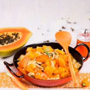 Süß-saures Putenfleisch mit Muskatkürbis und Papaya