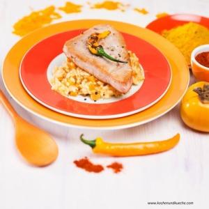 Thunfischsteak mit Kaki-Risotto
