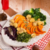 Gemüseplatte mit Kastanien