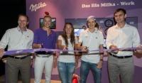 vlnr: Andreas Kutil, Managing Director Mondelez Österreich, Milka Ski Stars Maria Höfl-Riesch, Tina Maze und Skispringer Martin Schmitt mit Landeshauptmann Mag. Markus Wallner