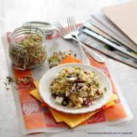 Quinoa-Salat mit getrockneten Paradeisern, Schafkäse und Sprossen