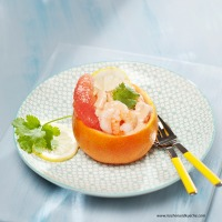 Shrimps mit rosa Grapefruit